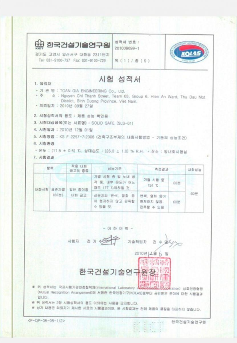 giấy chứng nhận chất lượng sản phẩm két sắt